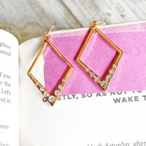 ROSE GOLD STATEMENT PAVE DROP EARRINGS